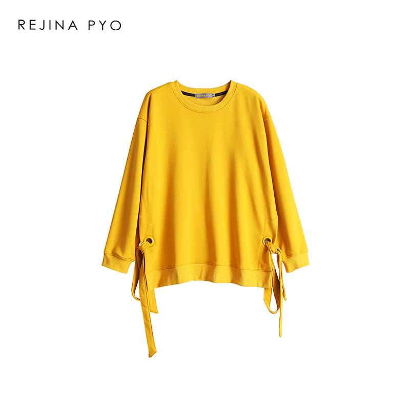 Rejinapyo Women Cotton Loose Solid All-Match Sweatshirts O-Neck Bow Drawstrings