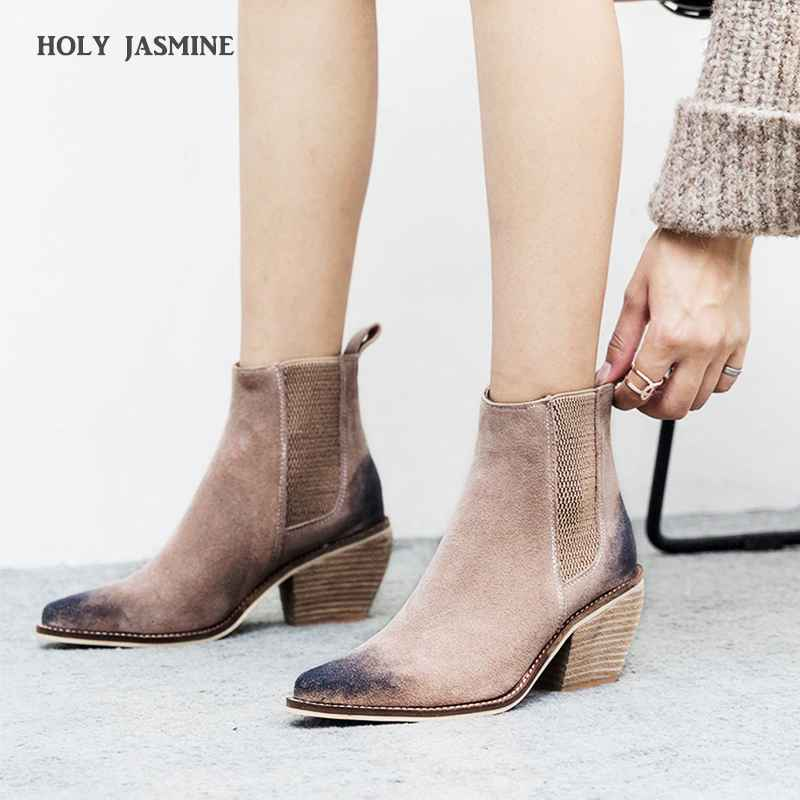 Genuine Leather Ankle Boots For Women High Heel Boots Sexy