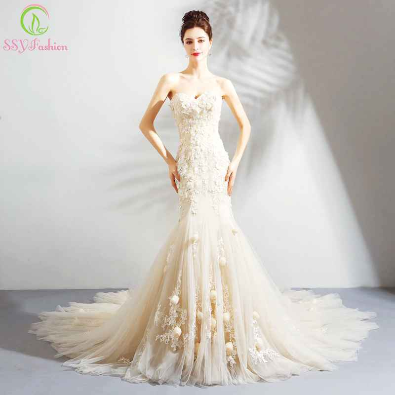 New Romantic Light Champagne Mermaid Wedding Dress Sweetheart Lace Flower