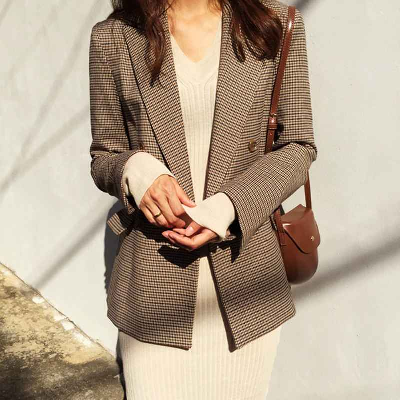 Blazers vintage double breasted office ladies plaid blazer long sleeve