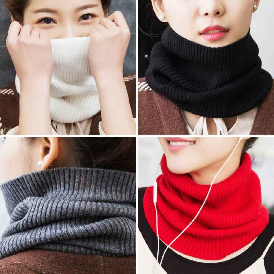 Sparsil Women Cashmere Knit Ring Scarves 42cm Neck Warmer Solid