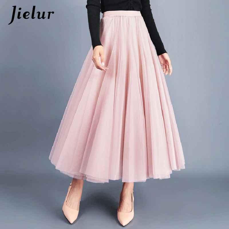 Skirts jielur autumn 3 layers princess tulle skirts vintage solid