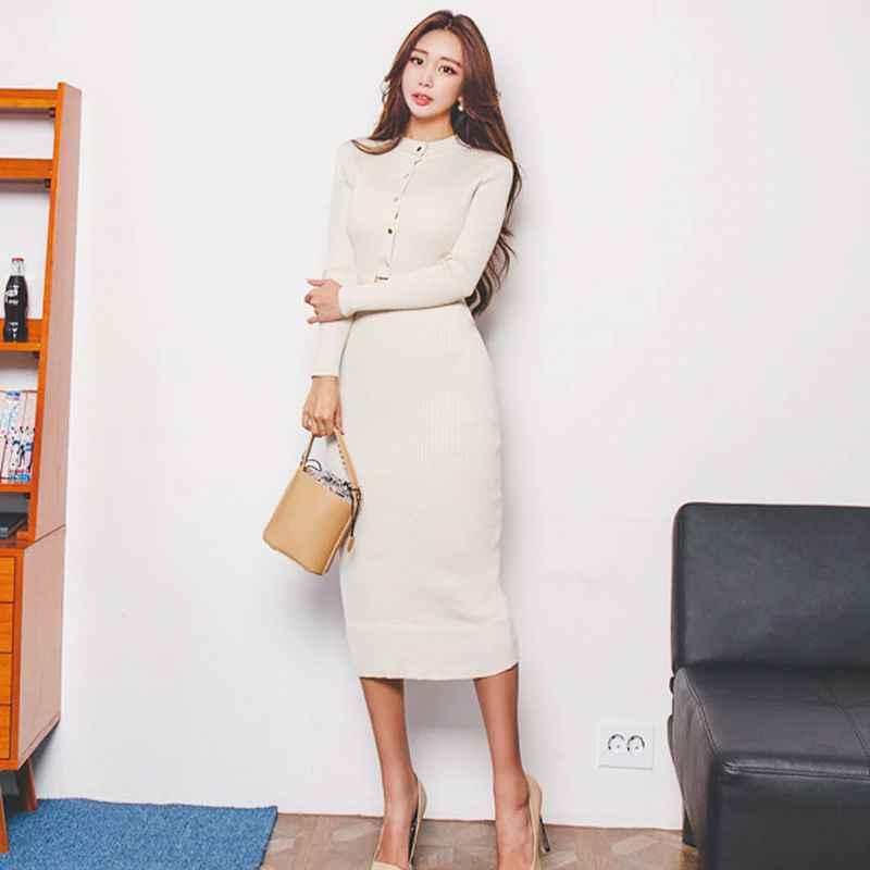 Womens Sets Elegant Single Breasted Women Sweater Dress O-Neck Full