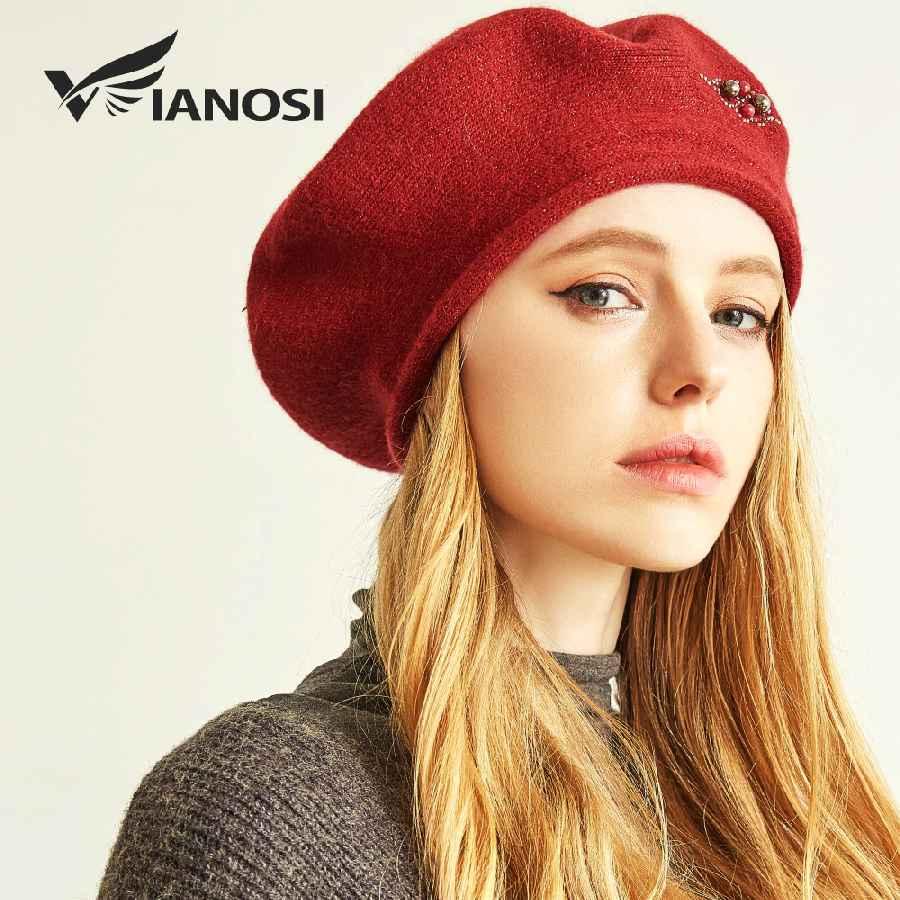 Winter Beret Hats For Women Wool Knitted Warm Luxury Pearl