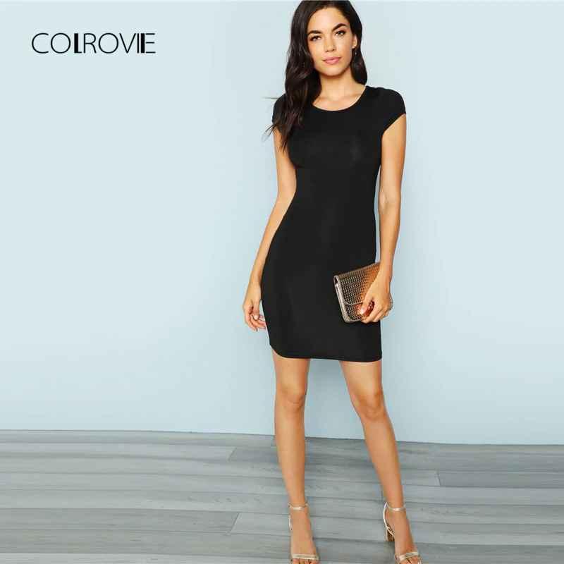 Colrovie Black Solid Cap Sleeve Sexy Dress Women 2018 Autumn