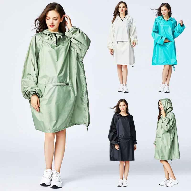 Womens Stylish Waterproof Rain Poncho Cloak Raincoat With Hood Sleeves