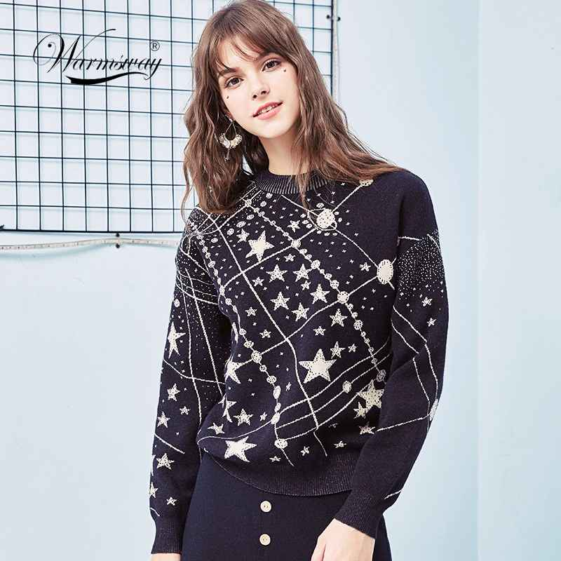 Sweaters retro galaxy star pattern sweater women vintage long sleeve