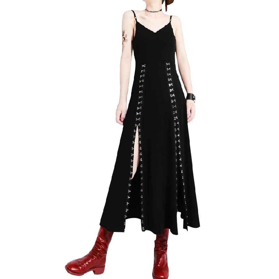 2019 Women Dress Sexy Sleeveless V-Neck High Split Vintage Strap