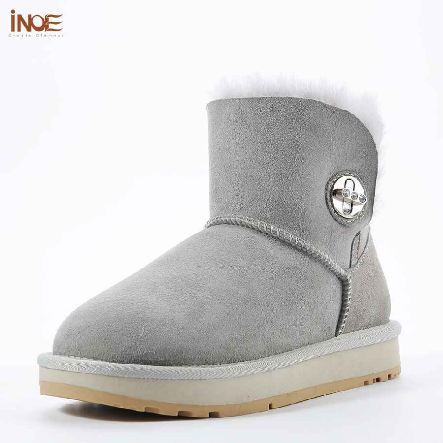 Inoe New Sheepskin Leather Wool Fur Lined Suede Women Ankle