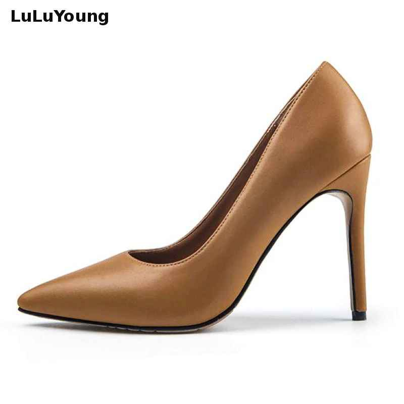 Genuine Leather Sexy High Heels Womens Shoes Pointed Toe Slip