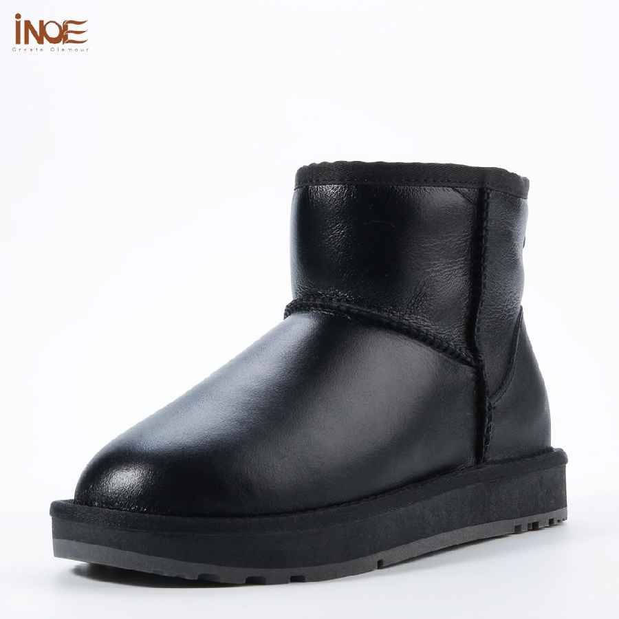 Inoe Classic Waterproof Sheepskin Leather Fur Lined Short Winter Snow