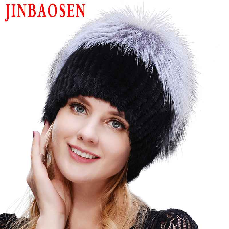Jinbaosen 2019 Women s Winter Mink Fur Hat Real Silver Fox