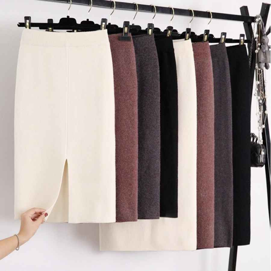 Winter Thickening Wool Blend Split Mid Knitted Skirt Cashmere Warm