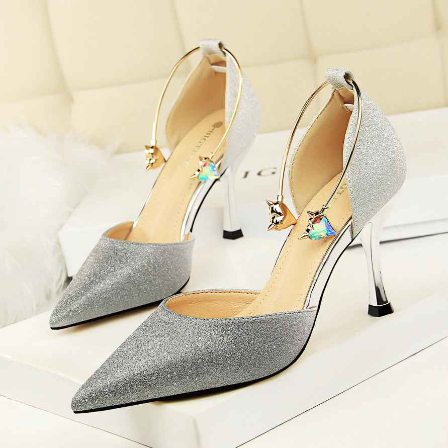 Most Shinny Glitter Wedding Shoes Open Bling Pointed Toe Pumps