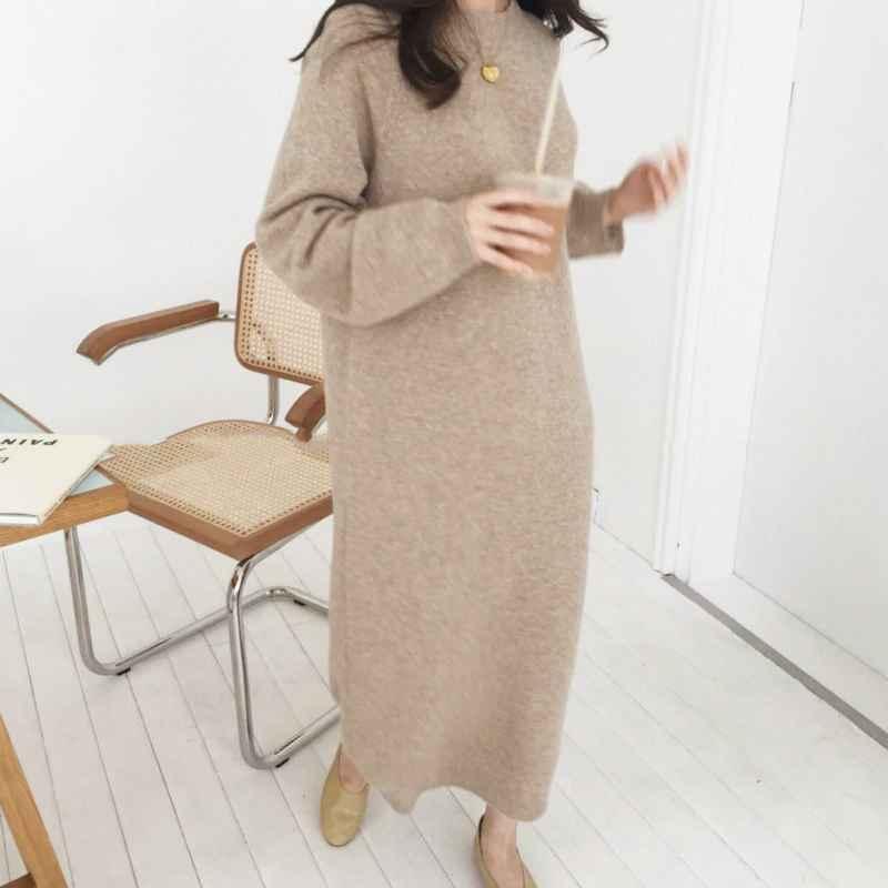 Womens Sets Women Autumn Winter Long Sweater Dress Female Long