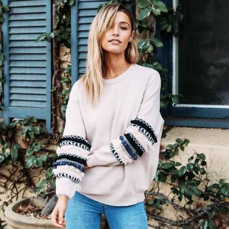 Autumn 2019 Fashion Streetwear Long Sleeve O-Neck Women Sweatshirts Loose