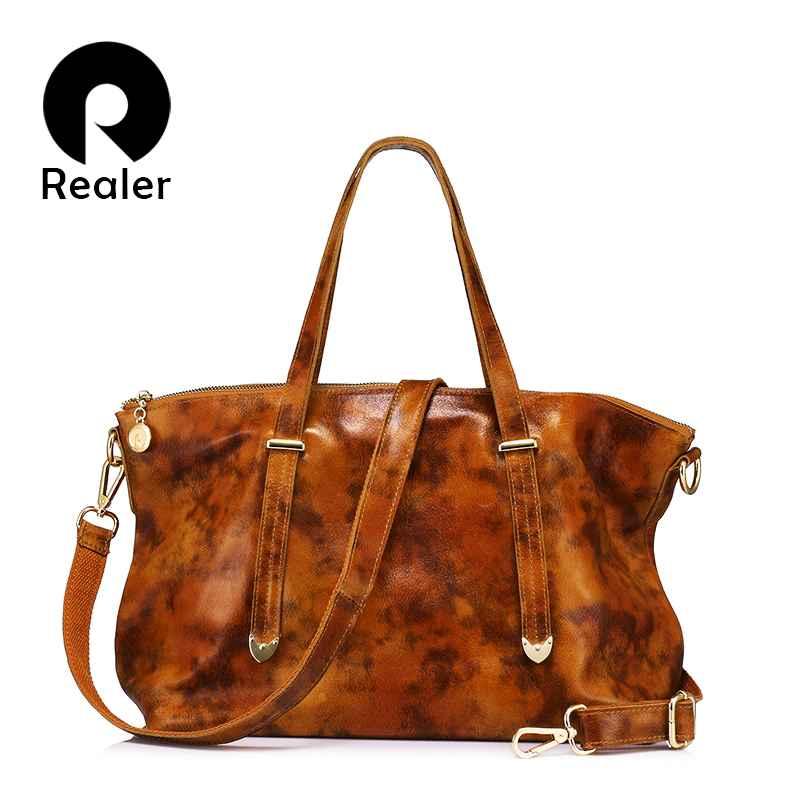 Brand Genuine Leather Tote Bag Fashion Women Handbag Female Large