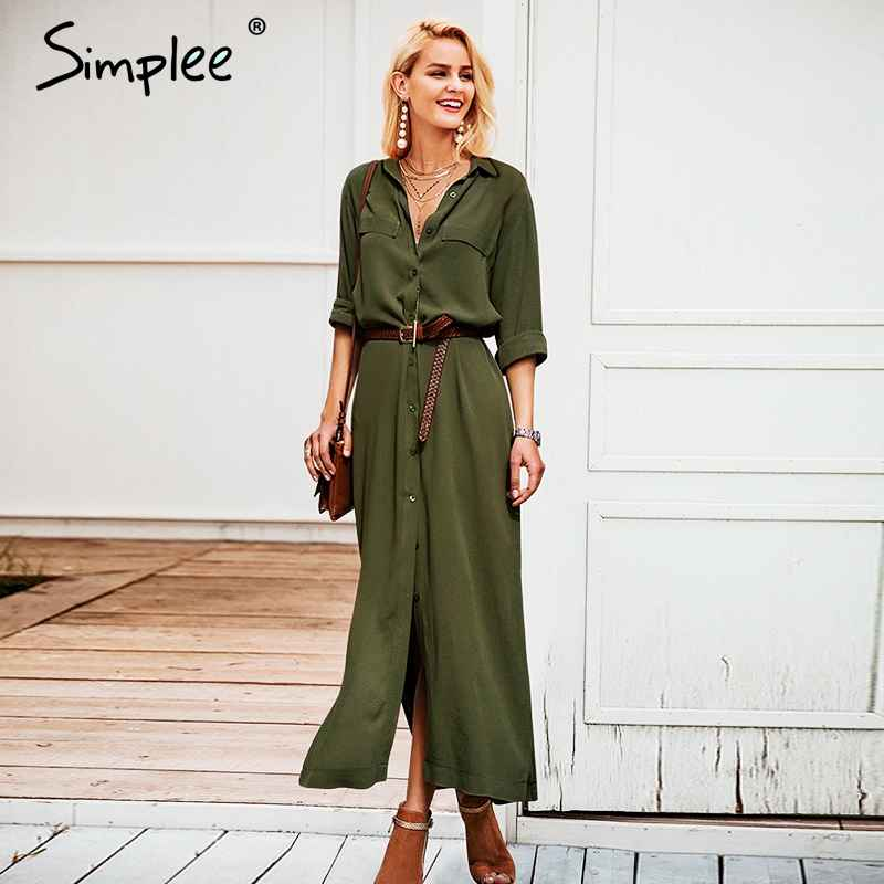 Casual Button Long Summer Dress Shirt 2018 Office Lady Vintage