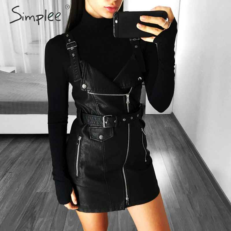 Autumn Winter Dresses Simplee Pu Leather Women Dress V Neck
