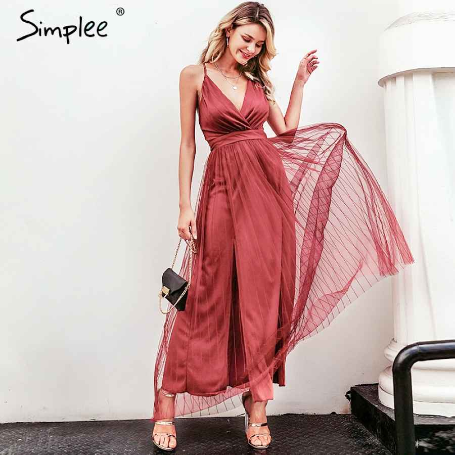 Mesh Pink Lace Women Dress Elegant V Neck Evening Maxi