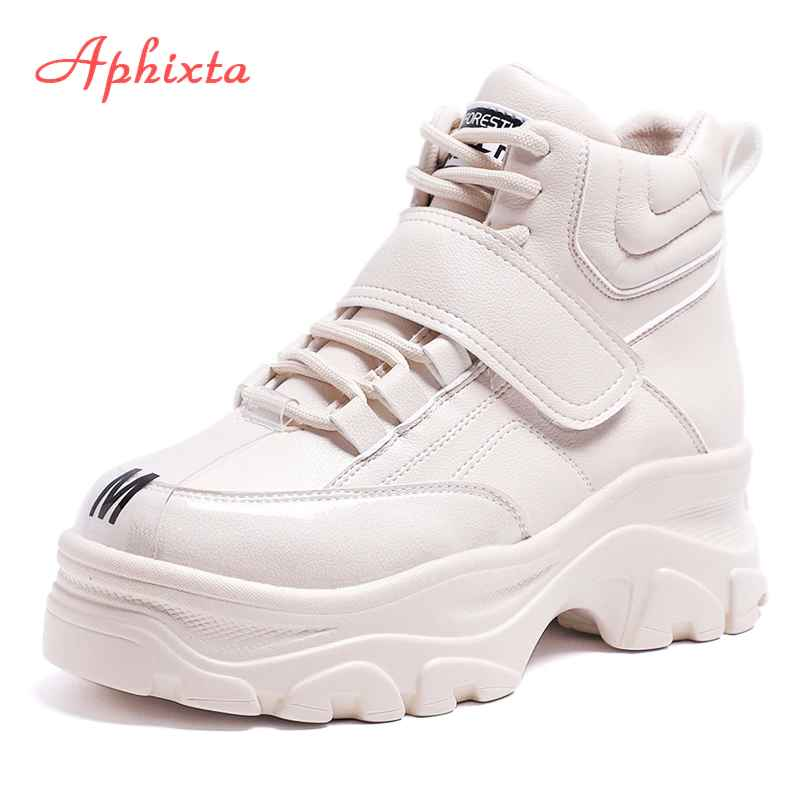 Aphixta Platform Shoes Woman Ankle Boots Height Increasing Platform Boots