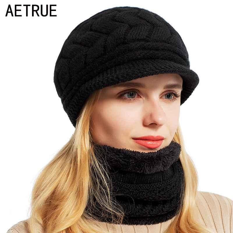 Aetrue Skullies Beanies Women Knitted Hat Scarf Female Winter Hats