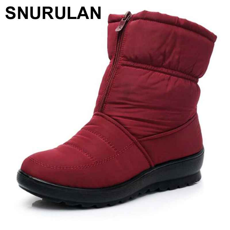 Snurulanpromotion Women Snow Boots Woman Ankle Platform Wedges Fashion Slip-On
