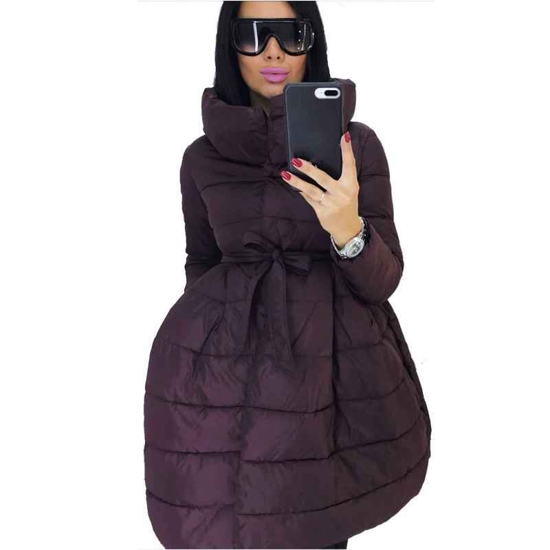 Coats winter coat women skirt parka fashion bowknot waist medium