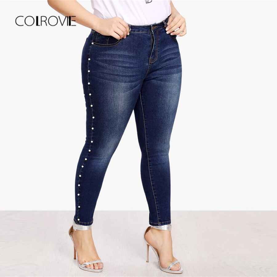 Colrovie Plus Size Blue Pearls Beads Casual Denim Jeans Woman