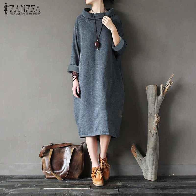 Sweaters 2019 plus size zanzea winter fleece pullover sweatshirt dress