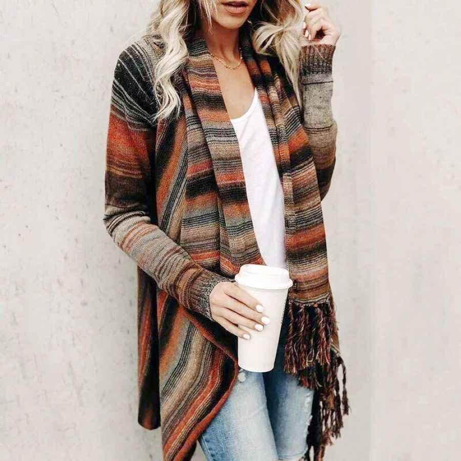 Spring Autumn Women Irregular Hem Long Knitted Cardigan Jacket Casual