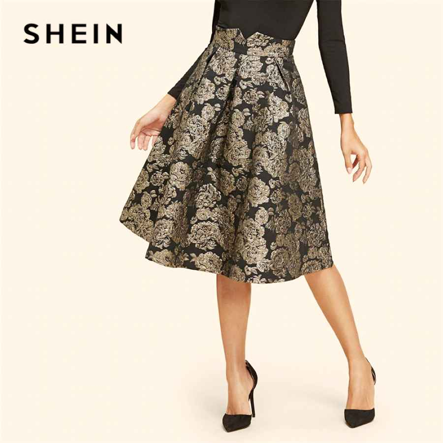 Vintage Gold Flower Print Mid Waist Flare Knee-Length Skirt 2018