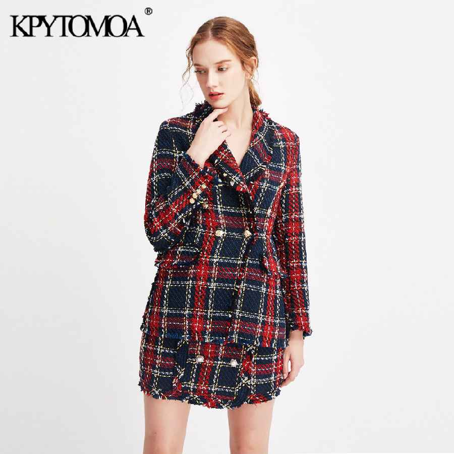 Blazers vintage double breasted frayed checked tweed blazers coat women