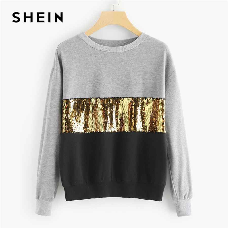 Multicolor Contrast Cut And Sew Sequin Sweatshirt Casual Colorblock Long