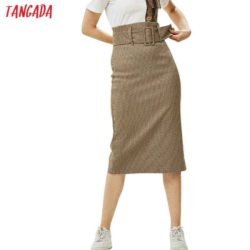 Skirts tangada fashion women plaid skirt vintage work office ladies