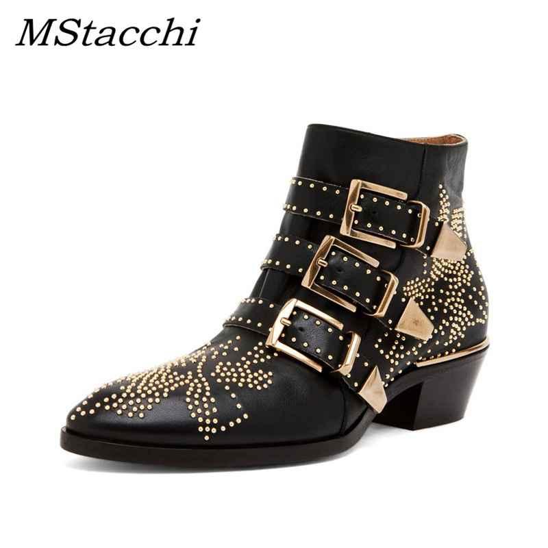 Mstacchi Boots Women Round Toe Rivet Flower Boots Susanna Studded