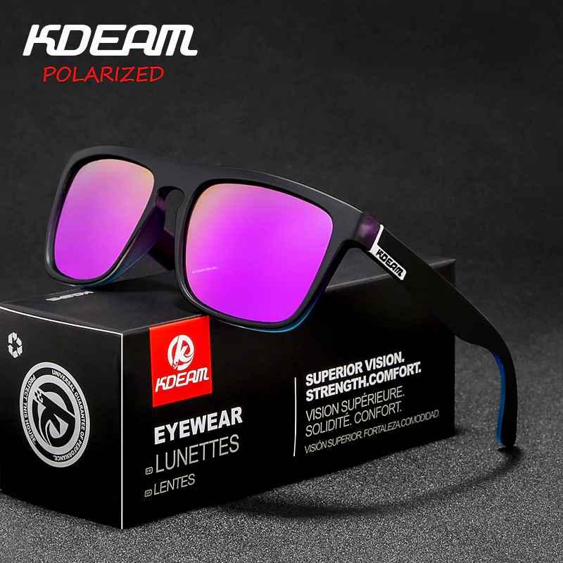 New Arrived Kdeam Mirror Polarized Sunglasses Men Square Sport Sun