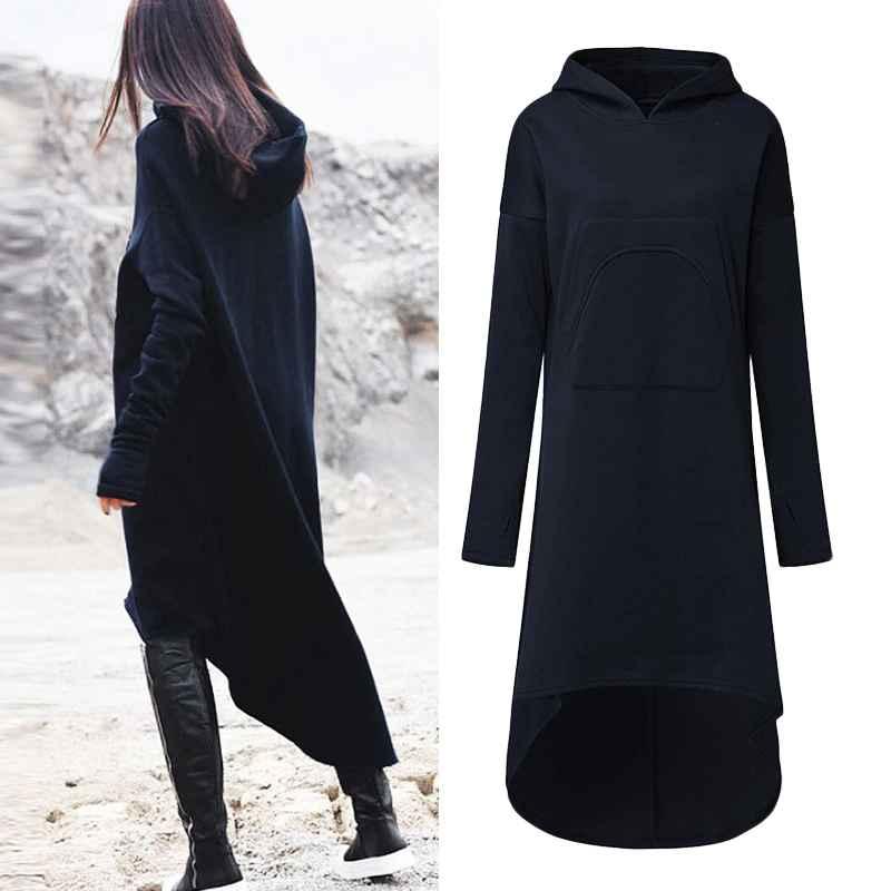 Sweaters 2019 plus size zanzea winter solid long sweatshirt dress