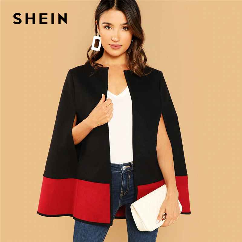 Shein Weekend Casual Black Round Neck Two Tone Open Front