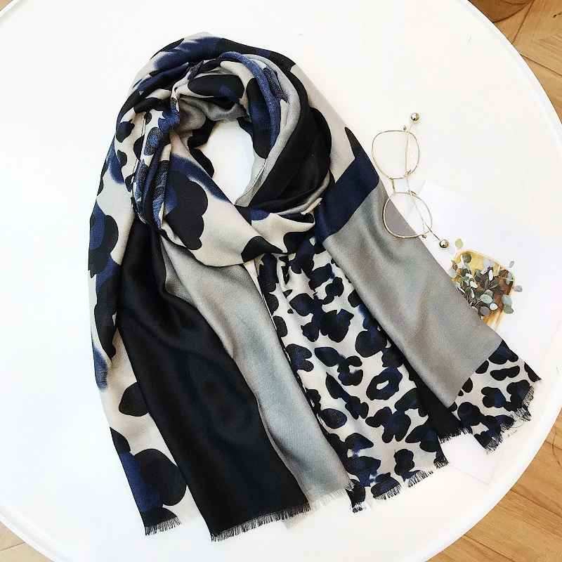 Ladies New Fashion Leopard Patchwork Viscose Shawl Scarf Autumn Winter