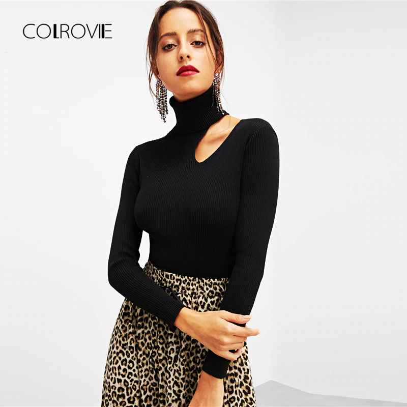 Colrovie Black Solid Rolled Neck Asymmetric Cut Out Elegant Winter