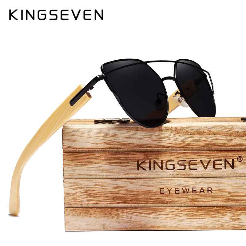 Original Brand Bamboo Cat Eye Sunglasses Polarized Metal Frame Wood