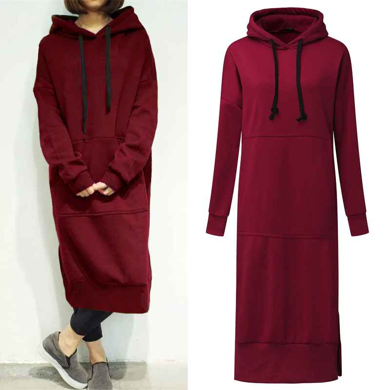 Sweaters autumn zanzea long sweatshirt dress 2019 winter women casual
