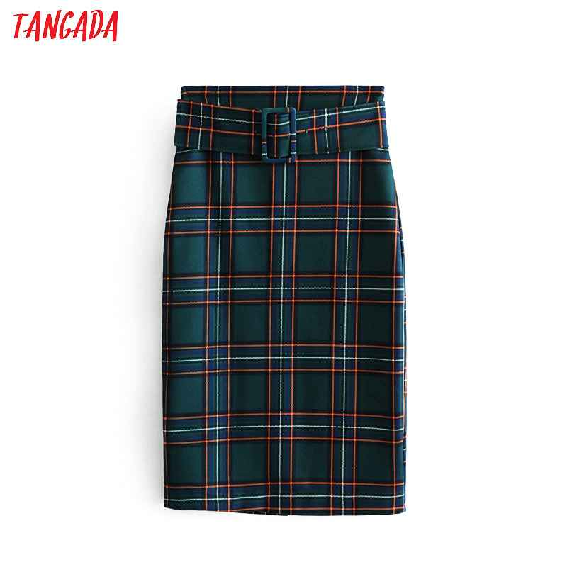 Skirts tangada fashion women green plaid skirt vintage elegant ladies