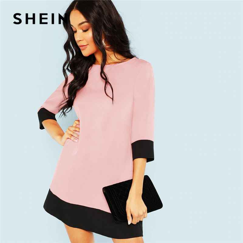 Pink Office Lady Colorblock Contrast Trim Tunic O-Neck 34 Sleeve