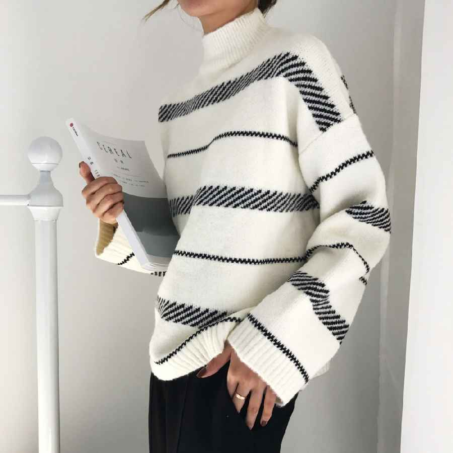 Sweaters womens sweaters chic vintage striped sweater 2019 trend loose