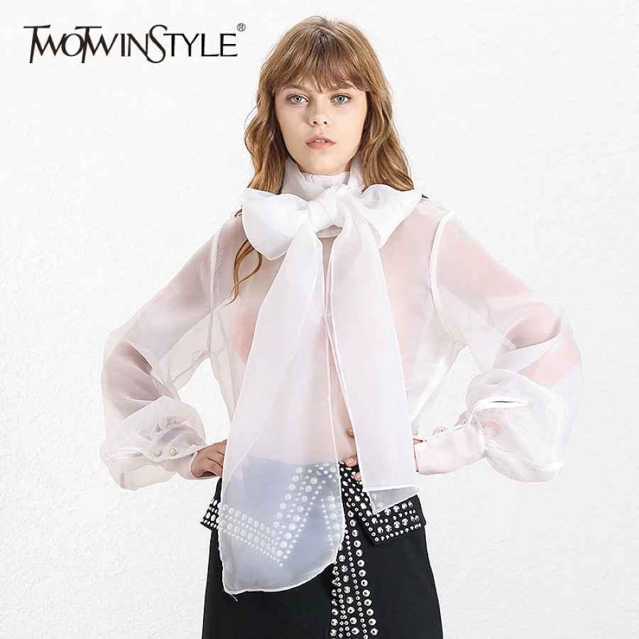 Elegant Perspective Womens Tops And Blouses Lantern Sleeve Lace Up