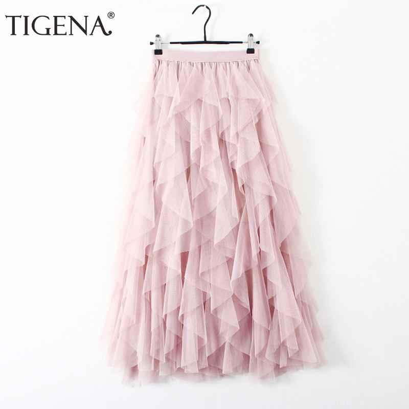 Skirts tigena fashion tutu tulle skirt women long maxi skirt