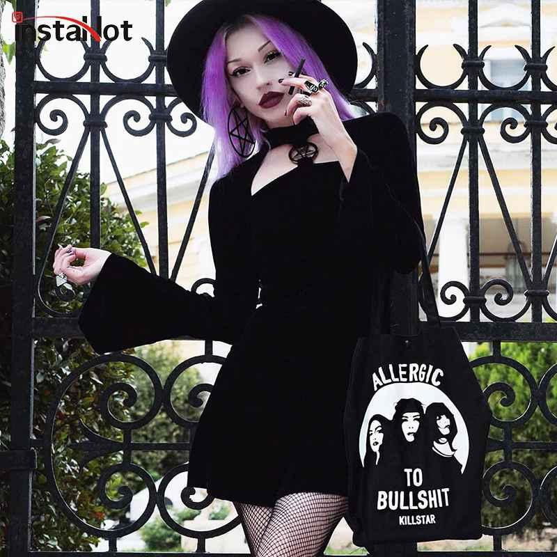 Instahot Velvet Gothic Black Winter Dress Women Halloween Flare Sleeve