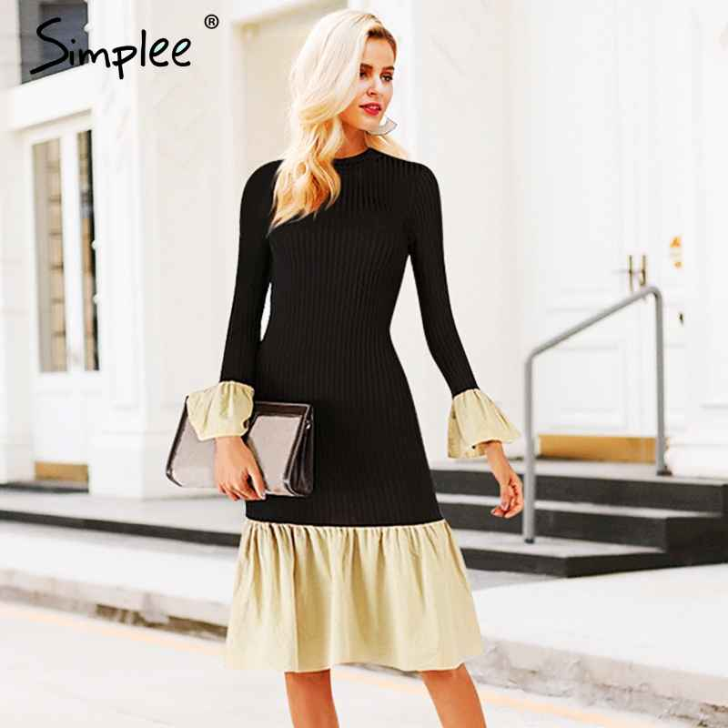 Autumn Winter Dresses Simplee Turtleneck Knitted Dress Women Flare Sleeve